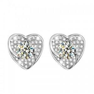 Cercei din argint Diamond Heart