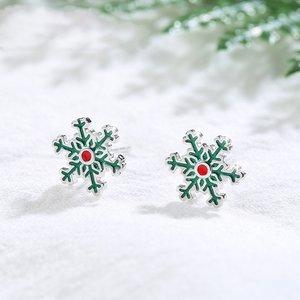 Cercei din argint Green Snowflake