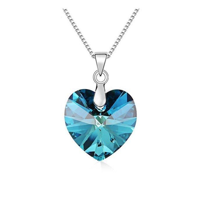 Colier din argint Bermuda Blue Heart cu Cristal Swarovski poza 2021