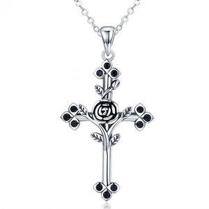 Colier din argint cu Cruce si Cristale Negre