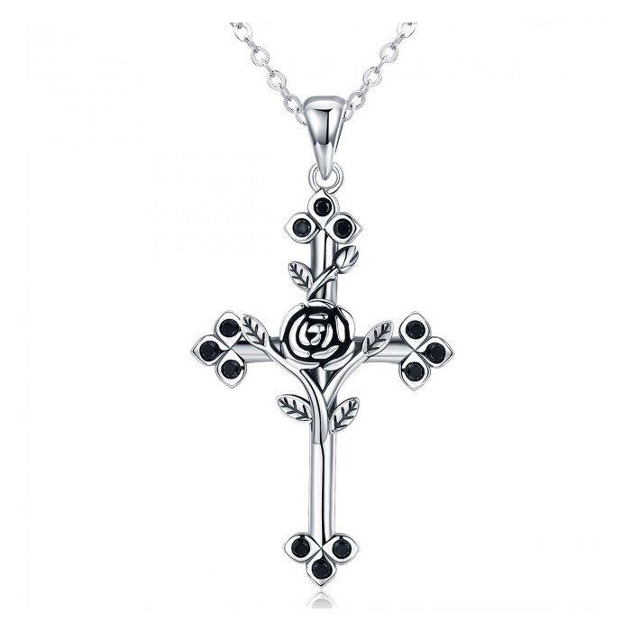 Colier din argint cu Cruce si Cristale Negre poza 2021
