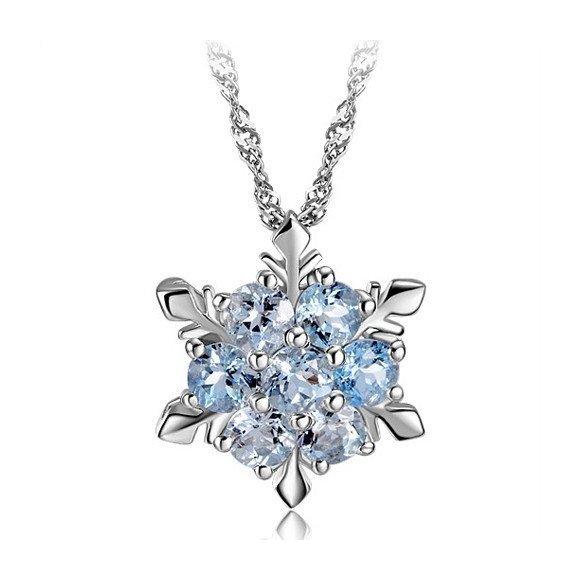 Colier din argint cu Fulg de Nea si Cristale Albastre