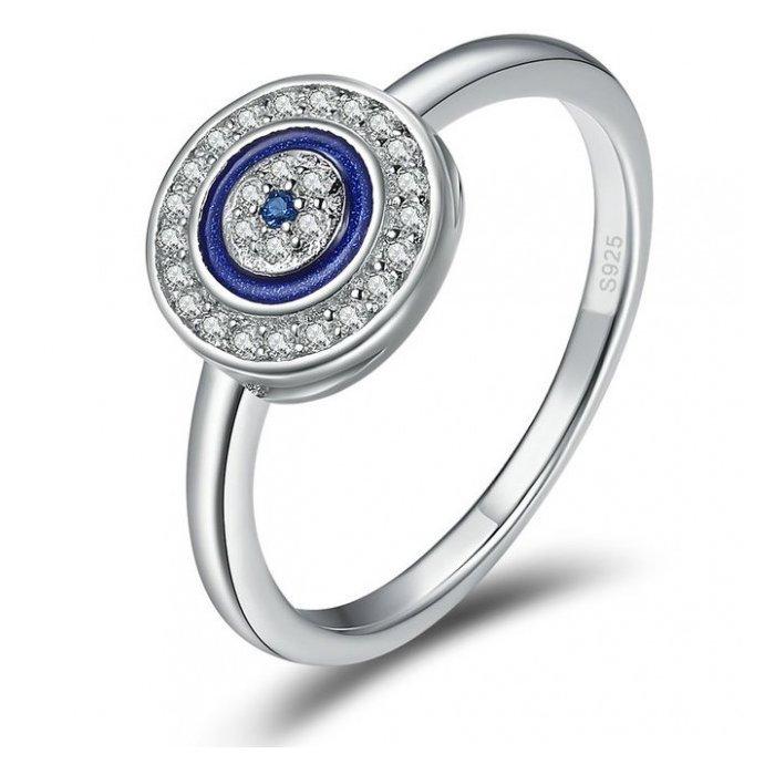 Inel din argint Lucky Blue Circle poza 2021