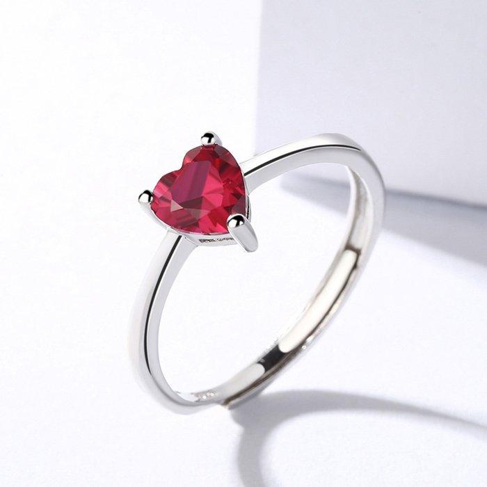 Inel din argint Simple Red Heart poza 2021