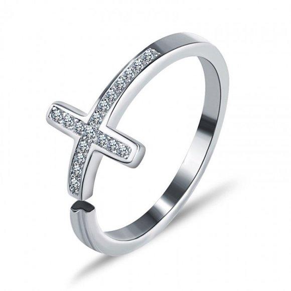 Inel reglabil din argint Fashion Cross
