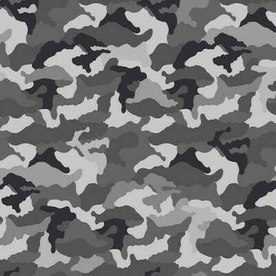 Printed Cotton Jersey - Camouflage Grey