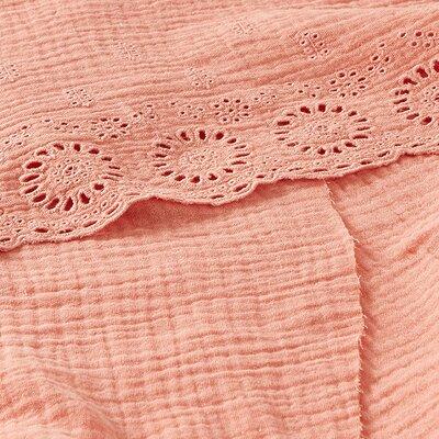 Border embroidery double gauze - Salmon