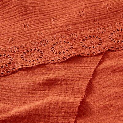 Border embroidery double gauze - Terra