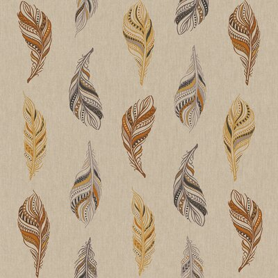 Canvas Linen Look Fabric - Feather Drawing