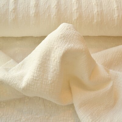 Cotton embroidery double gauze - Ivory