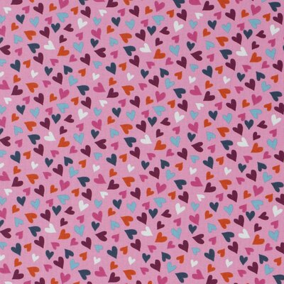 Cotton Jersey - Hearts  Pink