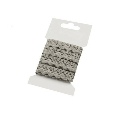 Cotton lace 15mm - 3m card Grey