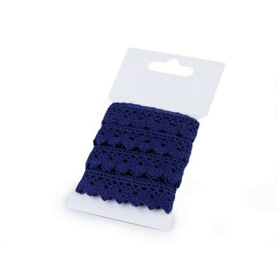 Cotton lace 15mm - 3m card Navy