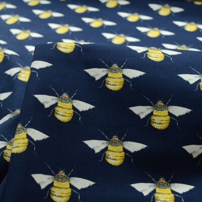 Cotton Poplin - Bumblebees Navy