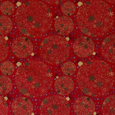 Cotton print - Christmas Globes Red