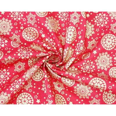 Cotton print - Metallic Snowflake Mandala Red