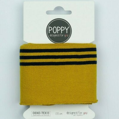 Cuff fabric - Ochre-Navy 135x7 cm