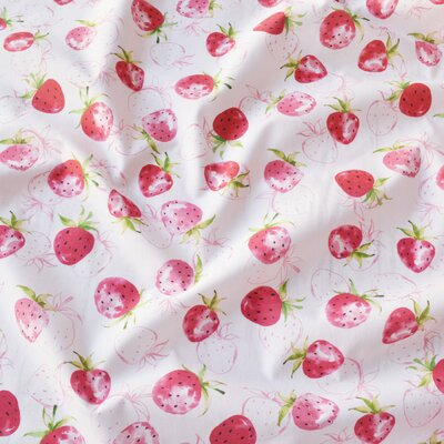 Digital print cotton - Fraise White