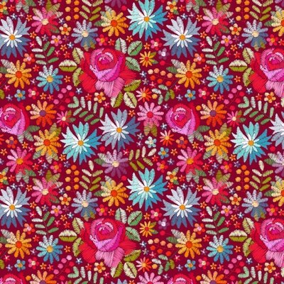 Digital Printed Cotton - Embroidery Flowers Red