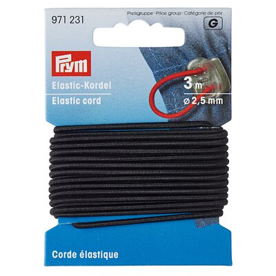 Elastic cord black  - 3 m pack
