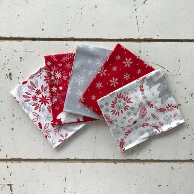 Fat Quarter Set - Christmas Doves red