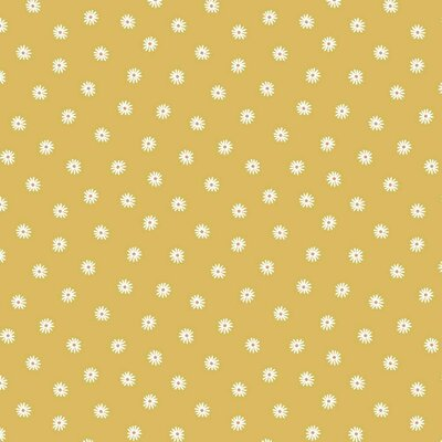 Organic Digital Jersey - Small Flower Yellow