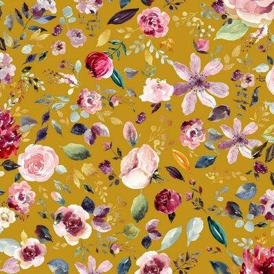 Organic Jersey - Painted Flowers Ochre
