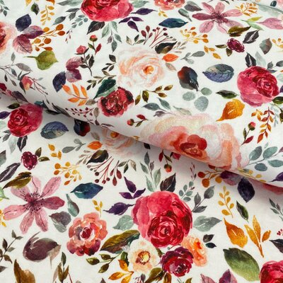 Organic Jersey - Painted Flowers White