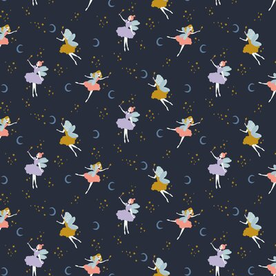 Organic Poplin Printed- Magical Night Navy