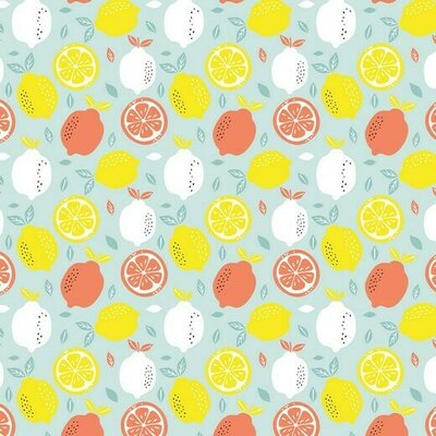Printed Cotton -Fresh Lemon Blue