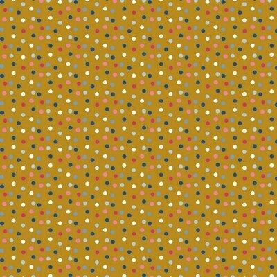 Printed Cotton -Happy Feeling Dots  Ochre