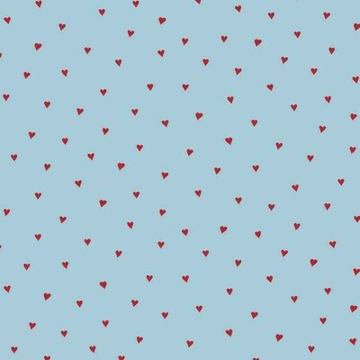 Printed Cotton - Heart Blue/Red