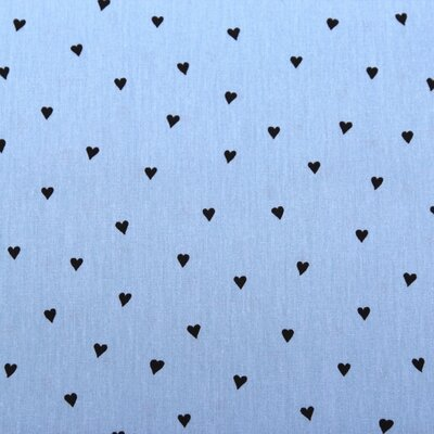Printed Cotton -Hearts Blue
