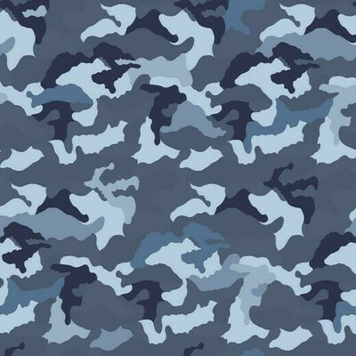 Printed Cotton Jersey - Camouflage Blue