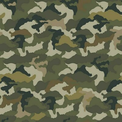 Printed Cotton Jersey - Camouflage Green