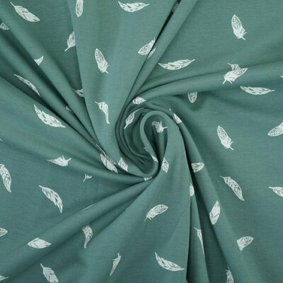 Printed Cotton Jersey - Feathers Dusty Mint