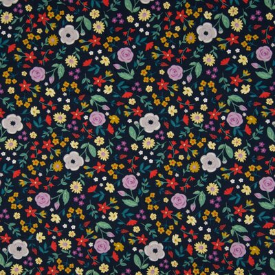 Printed Cotton Jersey - Flowers Navy