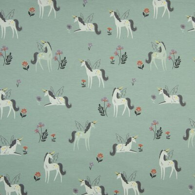 Printed Cotton Jersey - Flying Unicorns Dusty Mint