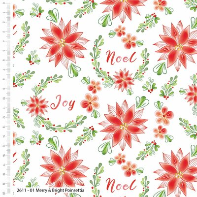 Printed Cotton - Merry & Bright Poinsettia