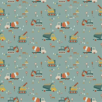 Printed Cotton poplin - Construction Vehicles Mint