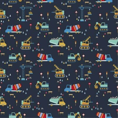 Printed Cotton poplin - Construction Vehicles Navy