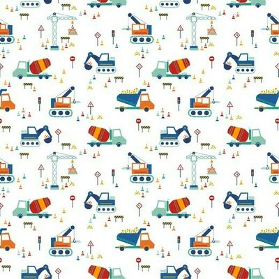 Printed Cotton poplin - Construction Vehicles White