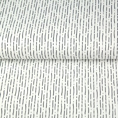 Printed Cotton poplin - Dashed Stripes White