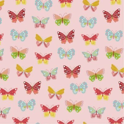 Printed Cotton poplin -  Happy Butterfly Rose
