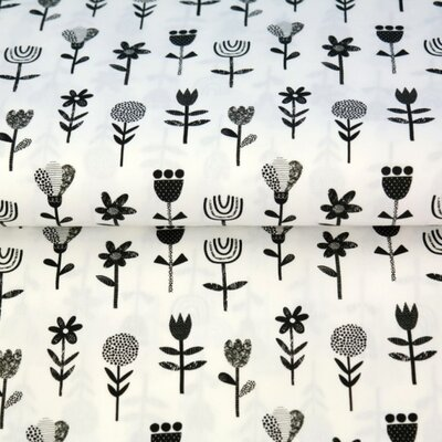 Printed Cotton poplin - Scandic Flower White/Black