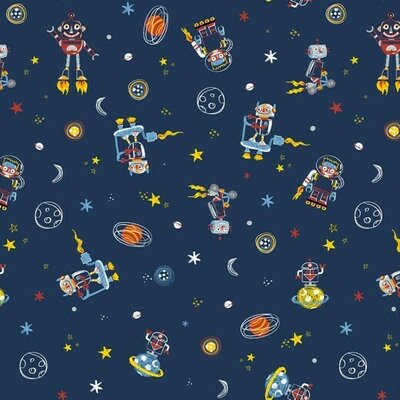 Printed Cotton poplin - Space Dudes Navy