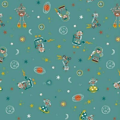 Printed Cotton poplin - Space Dudes Teal