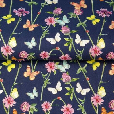 Printed Cotton poplin - Spring Butterfly Navy