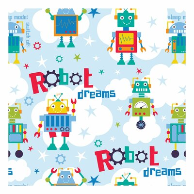 Printed Cotton - Robots and Clouds Blue