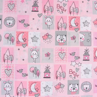 Printed Cotton - Sweet Animals Pink